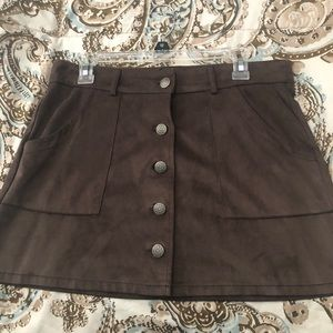 American eagle brown button up skirt